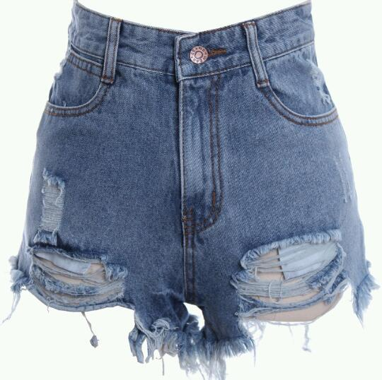 Retro distressed high waisted shorts