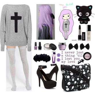 sweater pastel goth pullover thigh highs shoes hair bow