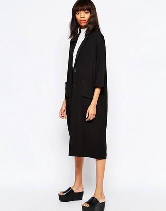 coat duster coat monki black coat