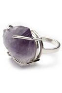 Silver big amethyst ring