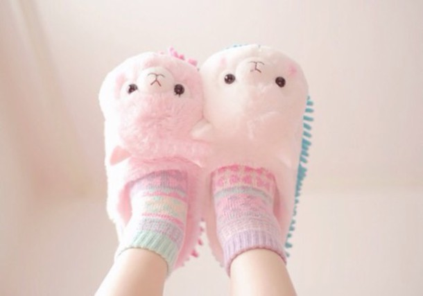 Shoes: slippers, kawaii, alpaca, fluffy, cute slippers ...