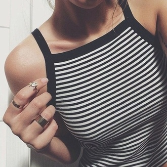 shirt black and white stripped crop top