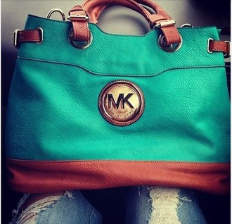 bag michael kors teal tote bag leather bag mk