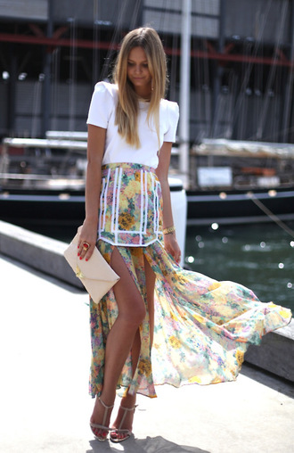 zara skirt blouse multicolor skirt floral asymmetrical skirt clothes flowers short and long shirt white piping maxi skirt double slit skirt mini skirt chiffon skirt floral skirt split skirt summer dress cute dress