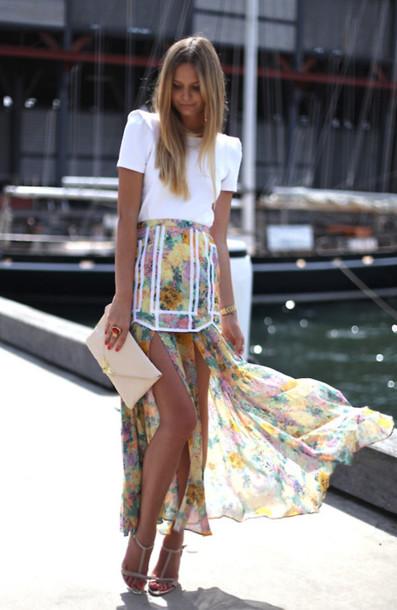 zara skirt blouse multicolor skirt floral asymmetrical skirt