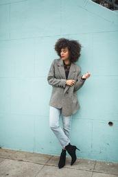 style me grasie,blogger,jacket,top,jeans,shoes,jewels,blazer,grey blazer