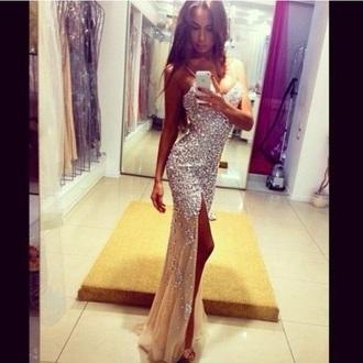 dress champagne dress prom dress long prom dress long dress sparkly dress