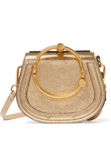 Chloé - EXCLUSIVE Nile Bracelet small metallic leather and suede shoulder bag