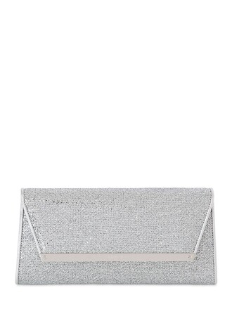 glitter net clutch lace silver bag