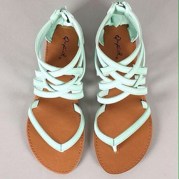 shoes blue shoes summer shoes baby blue sandals leather aquamarine mint flat sandals