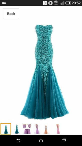dress teal dress jade color sequins prom dress girly dress debs dress fishtail dress mermaid prom dress