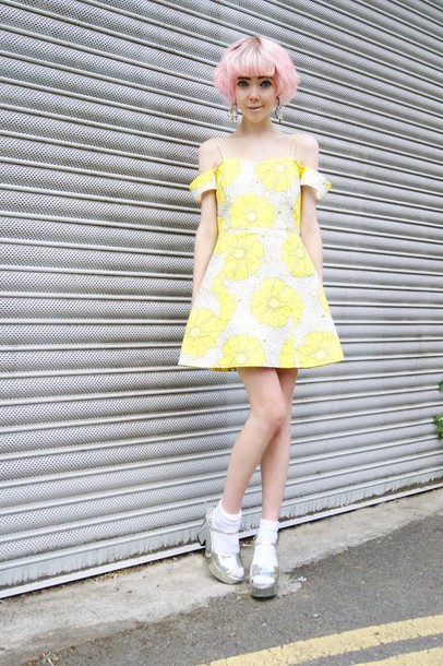 Yellow And Gray Floral Dress Dress Online Uk