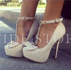 New Arrival Elegant Wthie Glaring Bowtie Ankle Strap Women High Heel Shoes : tidestore.com