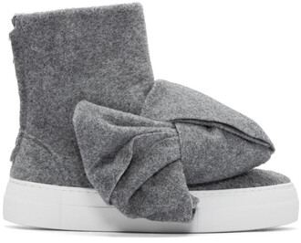 bow high sneakers grey shoes