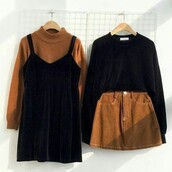 skirt,orange,black overalls,dress,black dress,black,top,orange skirt,short skirt,cute,cute skirt,shirt,brown,sweater,pullover,sweats,pull,camel,turtleneck sweater,fall outfits,fall colors