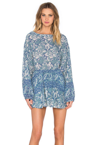 dress printed dress sun blue