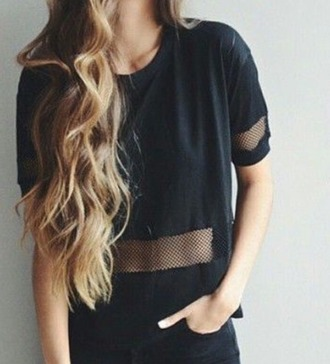 t-shirt mesh mesh top black cut-out beach crop