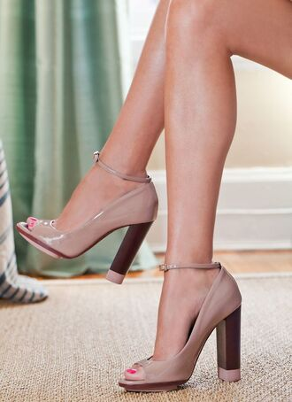 shoes nude pumps chunky heel strap open toe chunky heels
