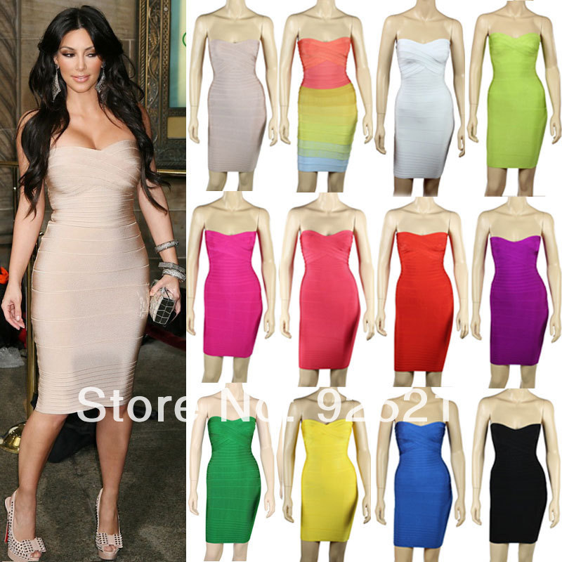 kardashian strapless HL 2013 women elastic knitted sexy bodycon ...