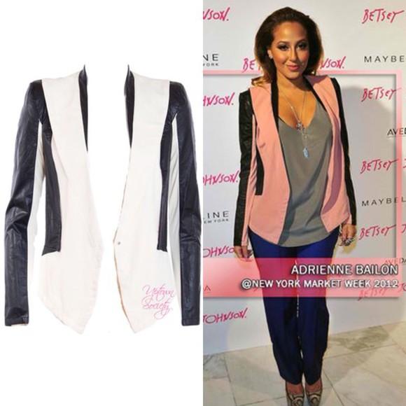 jacket adrienne bailon blazer leather jacket the real