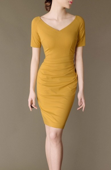 Yellow Elegant Noble Summer OL Slim V-neck Women Fashion Dress lml7026 - ott-123 - Global Online Shopping for Dresses