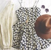 dress,floral,sunflower,black,white,cream,cardigan,sweater,boots,booties,tumblr,hipster,chic,cute,boho,fancy,casual,dressy,rustic,modern,straps,sleeveless,necklace,outfit,bag,hat,jewels,sunglasses,flowers