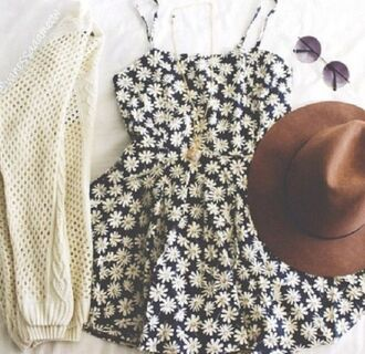 dress floral sunflowers black white cream cardigan sweater boots booties tumblr hipster chic cute boho fancy casual dressy rustic modern straps sleeveless necklace outfit bag hat jewels sunglasses