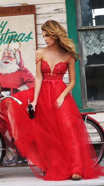 dress red prom dress prom lace dress skirt