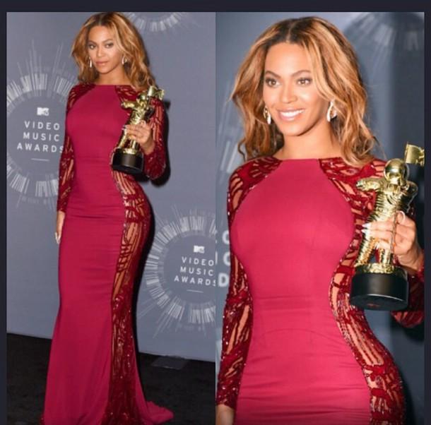 dress, gown, burgundy, burgundy dress, beyonce, vma, long sleeve ...