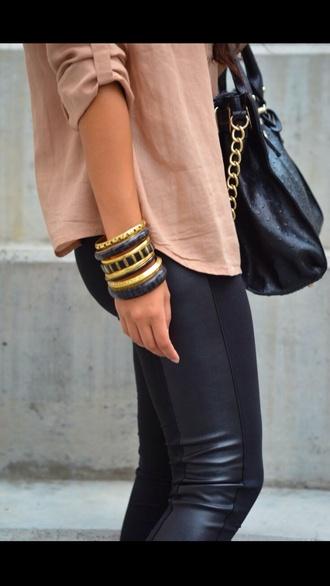 pants leather pleather jeans bag fashion instagram tumblr cute gold black brown accessories bracelets button down shirt blouse