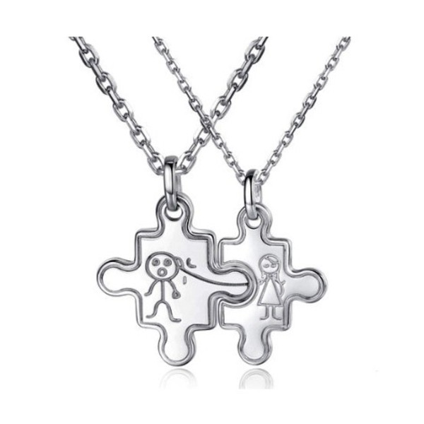 Engravable silver jigsaw puzzle married couples necklaces for Couples matching jewelry sets