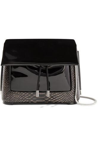 snake bag shoulder bag leather black