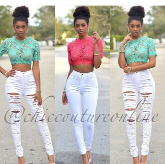 top crop tops white jeans white pants jeans ripped jeans outfit party outfits summer outfits spring outfits spring fashion see through lace top turquoise earrings accessories jewels nude high heels cute top high waisted jeans party