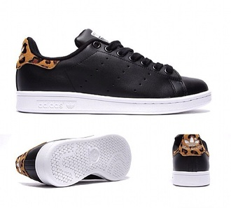 shoes stan smith leopard leopard print leopard shes black black and white sneakers adidas swag cool style stan smith