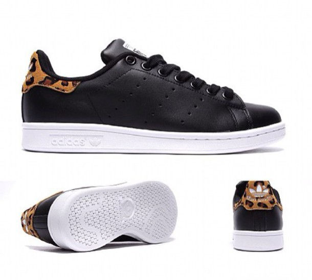 new styles 39176 9c31b shoes stan smith leopard leopard print leopard shes black black and white  sneakers adidas swag cool