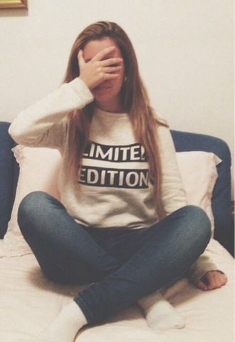 sweater limited edition clothes limited edition white blacj black comfy cozy grunge sweatshirt indie hipster tumblr trendy crewneck