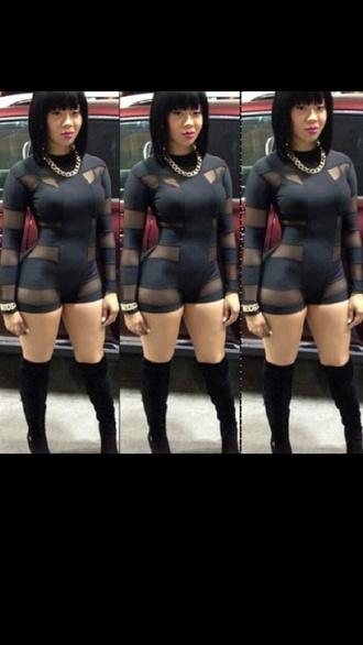 dress mesh bodysuit black jumpsuit one piece body suit sexy clubwear