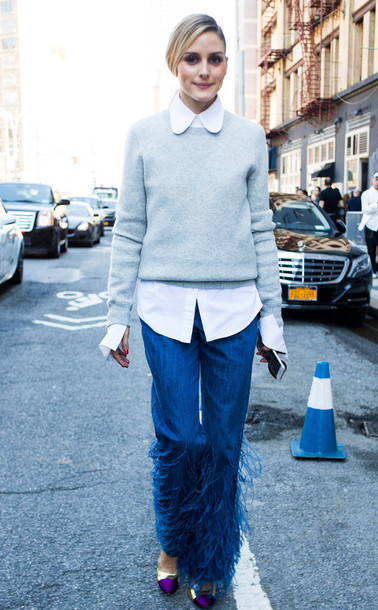 jeans celebrity style celebrity blue jeans fringes sweater grey sweater shirt white shirt olivia palermo streetstyle