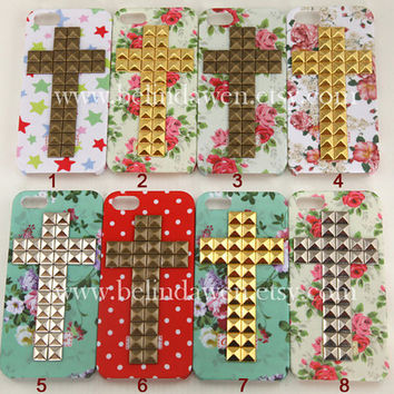 Floral case, studded case, iphone 5 case, cross studded iphone 5 case, studded iphone case, flower rose iphone 5 hard case