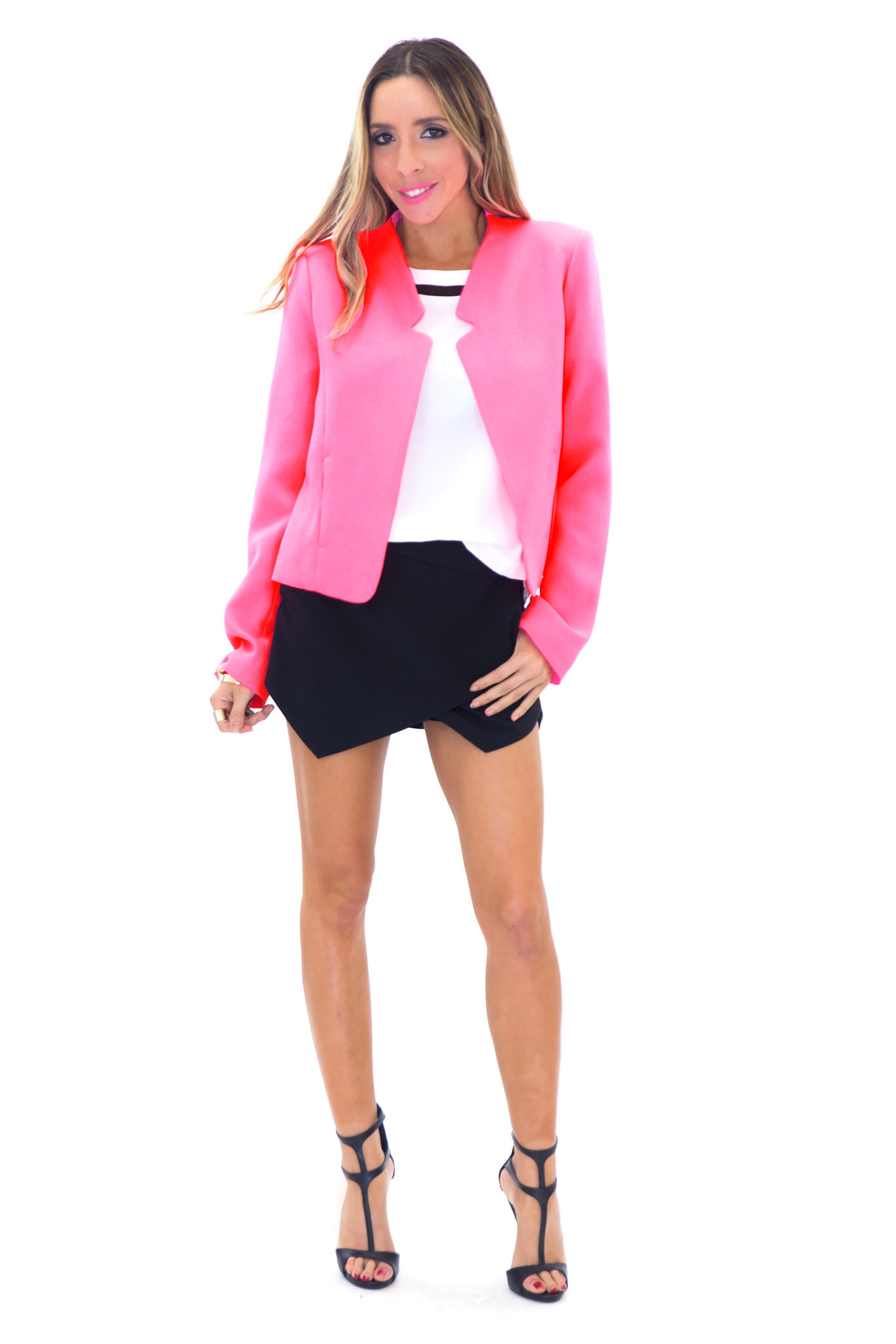 VERONIQUE NEON BLAZER - BUBBLE GUM | Haute & Rebellious
