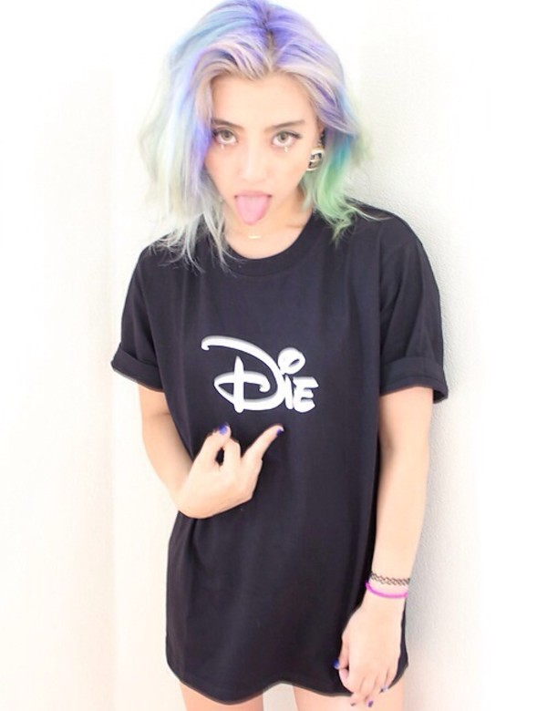 shirt t-shirt black blouse pastel hair grunge soft grunge pastel disney