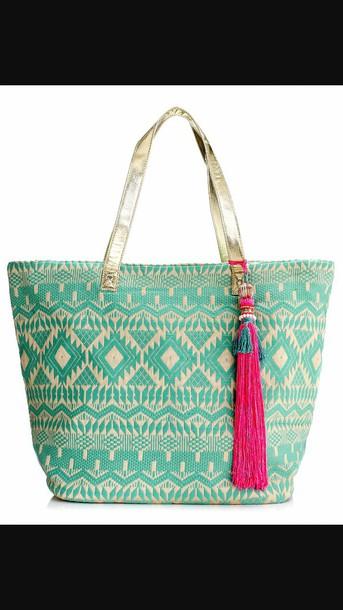 bag tribal blue beachbag