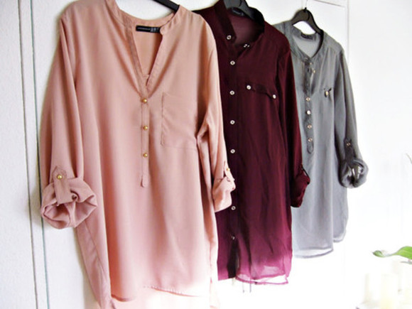 blouse grey shirt pink blouse pink grey blouse burgundy burgundy blouse flowy blouse button up nice hipster looking good red tumblr love bordeaux grey nude