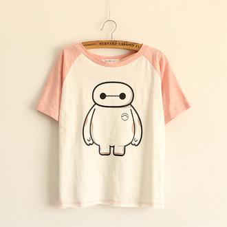 t-shirt pink cute fashion style kawaii girly casual white summer top baymax teenagers adorable outfit big hero 6 cartoon disney