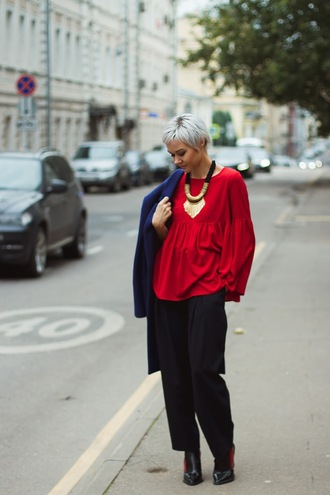 gvozdishe blogger coat top jewels pants shoes blouse red blouse blue coat