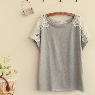t-shirt top lace grey cute girly trendy fashion style casual kawaii crochet shirt back to school