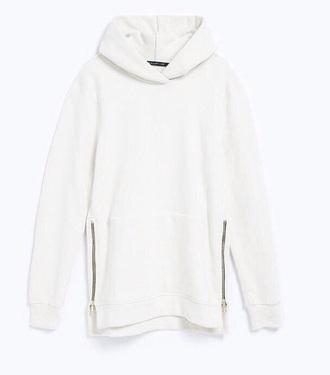 sweater white sweater hoodie white hoodie white zips cozy cosy sweaters