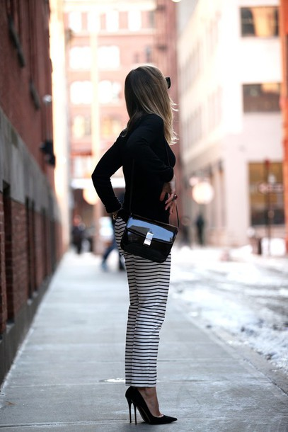 brooklyn blonde blogger striped pants stilettos crossbody bag pants shoes bag sunglasses make-up