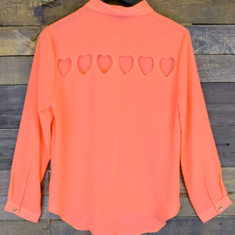 shirt heart cut out coral shirt flirty shirt valentine romantic button down shirt
