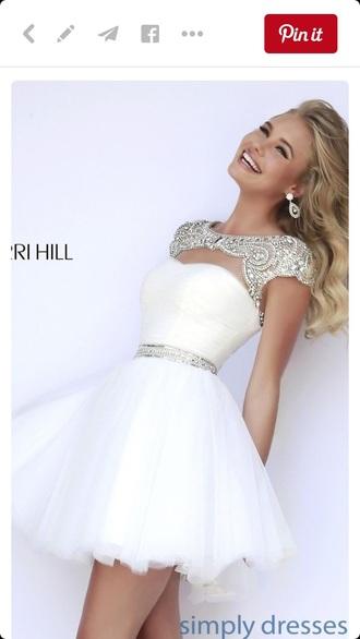 dress homecoming sherri hill white